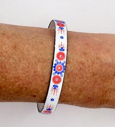 Your place to buy and sell all things handmade Bangle Bracelets, Bangles, Very Lovely, Diamond Are A Girls Best Friend, Red White Blue, Vintage Items, Diamonds, Enamel, Hand Painted