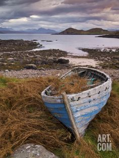 Sunset, Old Blue Fishing Boat, Inverasdale, Loch Ewe, Wester Ross, North West Scotland Photographic Print by Neale Clarke at Art.com