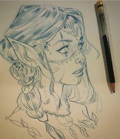 67 Ideas tattoo girl face sketch art for 2019 Face Sketch, Girl Sketch, Drawing Sketches, Drawing Faces, Pencil Drawings, Art Drawings, Sketch Art, Drawing Style, Sketch Ideas