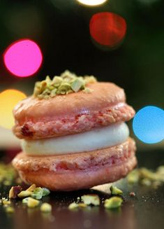 Festive Cranberry & Pistachio Macarons with White Chocolate Vanilla Cream