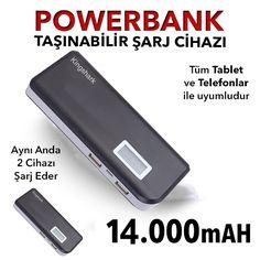 Lcd Ekranlı 14000 mAh Powerbank Taşınabilir Şarj Aleti - Siyah :: Yerinde Sipariş