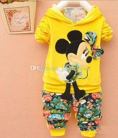 9bd43ed0ada3 Baby Girls clothing sets Cartoon mickey Minnie tracksuit Cute shirt +  floral pants 2pcs sets Kids