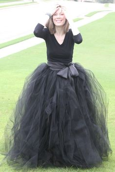 Black adult tutu, long black skirt, sewn tutus, Wide Satin sash, Wedding tutu, Prom dress