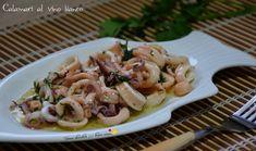 Oggi una ricetta semplicissima e veloce da preparare: i calamari al vino bianco. Un piatto di mare ideale per quando si va di fretta senza rinunciare a qualcosa di gustoso. Seafood Salad, Pasta Salad, Calamari, Carne, Shrimp, Salads, Food And Drink, Favorite Recipes, Meat
