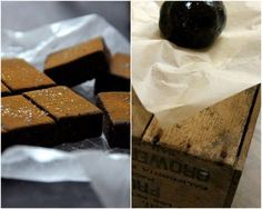 Raw liquorice toffee with rhubarb compote