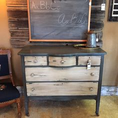 Our latest dresser - this antique beauty has been painted in a slate blue and warm beige - gently distressed and given that beautiful dark wax treatment. A timeless treasure for any home aesthetic. http://www.binspireddesigns.net  http://www.facebook.com/binspireddesigns