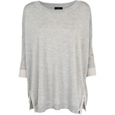 Paul Smith Knitwear - Grey Oversized Jumper ($110) ❤ liked on Polyvore featuring tops, sweaters, shirts, t-shirts, grey sweater, oversized sweaters, gray oversized sweater, wool sweater and 3/4 sleeve sweaters