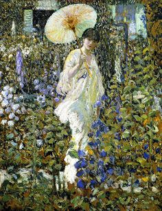 ⊰ Posing with Posies ⊱ paintings of women and flowers - Frederick Carl Frieseke 'Sun and Wind' c.1914
