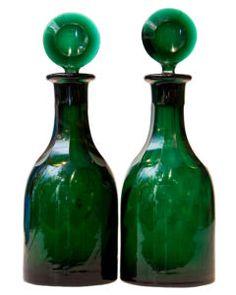 ¤ Josef Hoffmann Wiener Werkstatte Moser Glass Decanters