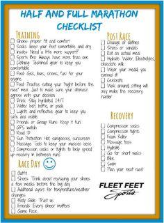 Marathon Checklist - Fleet Feet Nashville