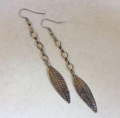 Silver Metal Feather Earrings Link Chain Handmade Long Dangle Hook Pierced Gift #Handmade #Pierced  http://stores.ebay.com/lovestuffpd