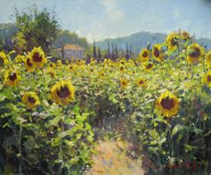 Watercolor Landscape, Landscape Art, Landscape Paintings, Impressionism Art, Impressionist Paintings, Summer Painting, Sunflower Art, Paintings I Love, Vincent Van Gogh