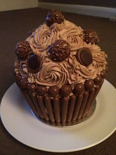 Chocolate giant cupcake  Nutella Frosting Fererro Rocher Malteasers Chocolate Fingers  Toffees
