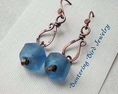 True+Blue+Recycled+Glass+Dangle+Earrings+with+by+BanteringBird