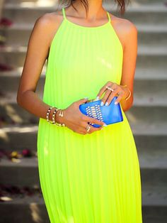 Green Yellow Cut Away Pleated Maxi Dress