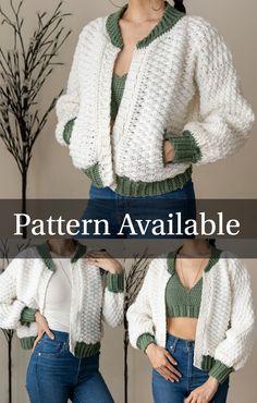 Crochet Hoodie, Crochet Cardigan Pattern, Free Crochet Jacket Patterns, Diy Crochet Sweater, Cute Crochet, Easy Crochet, Patterned Bomber Jacket, Crochet Fashion, Crochet Designs