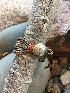 Debra Levens Jewelry Design. Bead and leather single wrap cuff bracelet Leather Cord Bracelets, Wrap Bracelets, Beaded Bracelets, Beaded Leather Wraps, Western Jewelry, Bead Crafts, Artisan Jewelry, Making Ideas, Friendship Bracelets