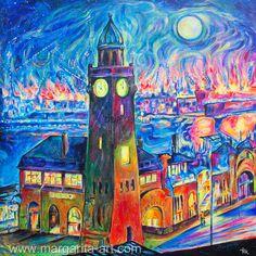 GEMÄLDE Faszination HAMBURG Blue Port 100x100 Bild von Art & Design aus Hamburg auf DaWanda.com