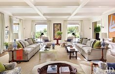 Contemporary Living Room by Carrier and Company Interiors and John David Rose in Southampton, New York