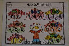 Fall sight word activity for kindergarten.