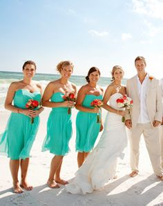 1000 images about wedding party on pinterest bridesmaid for Turquoise bridesmaid dresses for beach wedding