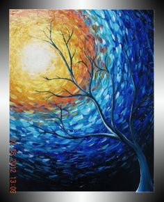 Blue Painting Yellow Sun Tree Painting by heatherdaypaintings, $195.00