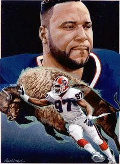 Cornelius Bennett, Buffalo Bills by Jim Auckland, 1992.