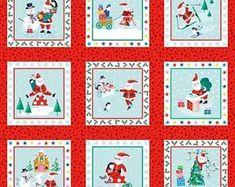 Winter Greetings Santa Panel Weihnachtsstoffe Patchwork Stoffe Weihnachten Deko