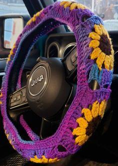 Crochet Car, Hippie Crochet, Puppy Car Seat, Baby Car Seats, Clean Cloth Car Seats, Car Seat Headrest, Car Seat Organizer, Leather Car Seats, Crochet Sunflower