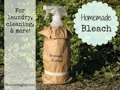 Homemade Bleach from NourishingJoy.com bottl, household, around the house, essential oils, natur, cleaning recipes, laundri, diy, homemad bleach