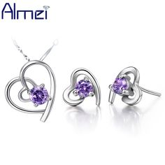 Find More Jewelry Sets Information about Almei Heart Love Purple Amethyst Wedding Silver Bridal CZ Diamond Jewelry Sets For Women White Crystal Earring Necklace Set T032,High Quality set of all sets,China set art Suppliers, Cheap sets from ULove Fashion Jewelry Store on Aliexpress.com