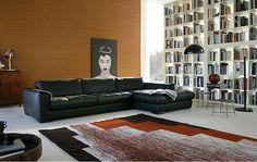 Este es el salón. En el centro hay una alfombra muy grande y colorada; la pared es de color naranja; hay un sofá bastante grande y negro donde puedo sentarme con mis amigas y ver películas o leer libros. A la derecha hay una grandísima librería con muchísimos libros por que nos gusta mucho leer.  Hay también una lámpara negra. En la pared hay un cuadro.