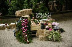 Rustic vintage truck as buffet station decorated with Tuscany flowers for wedding receptions