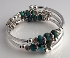 Embraceling Bracelet - Turquoise Heishi Beads with silver plated accents