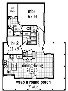 First Floor Plan of Cottage Country Southern House Plan 65966
