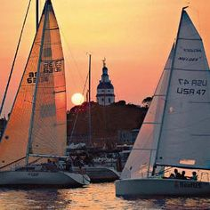 Boats sailing in Annapolis, Maryland.