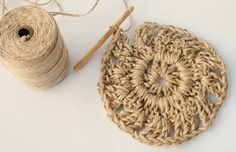 Have you noticed that natural jute decor is bang on trend right now? In this tutorial, you'll learn how to crochet the rounds and create a stunning contrast between the natural jute and metallic. Crochet Doily Patterns, Crochet Doilies, Jute, Crochet Wall Hangings, Wall Hanging Crafts, Weaving Art, Crochet Basics, Learn To Crochet, Knitting Yarn