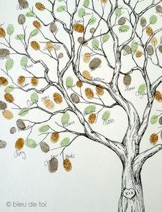 Wedding Guest Book Alternative Fingerprint tree Large by bleudetoi