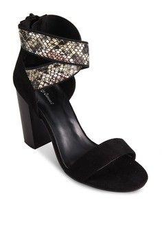 Elastic Print Chunky Heeled Sandals from Something Borrowed in black_1