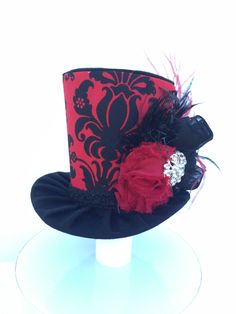 Red and Black Damask Mad Hatter Mini Top Hat for Dress Up, Birthday, Tea Party or Photo Prop by daisyleedesign on Etsy