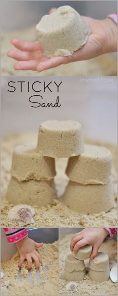 DIY STICKY SAND: Mold it, build it, & CONTAIN IT! This sand acts wet, but it isn't! It sticks together well, but it does not stick to skin. My kids love this stuff, and I love the less-messy alternative to traditional play sand!