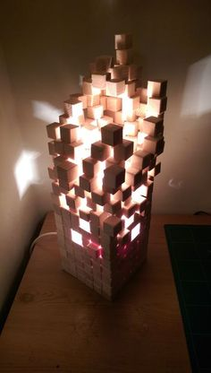 Picture of Wooden pixel lamp