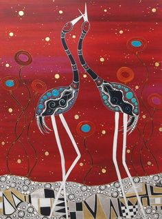 Artlandish Aboriginal Art Gallery would like to showcase this fine Aboriginal painting  by Melanie Hava / Brolga Greetings is the title of the work.  Click the painting   to view more images and information on this piece and over 1000 other paintings from many of the best Aboriginal artists from Australia.   Thank you and have a great day