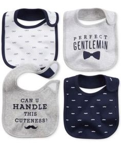 Carter's Baby Boys' 4-Pack Gentlemanly Bibs