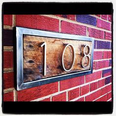 Steel and reclaimed wood address signs made to order