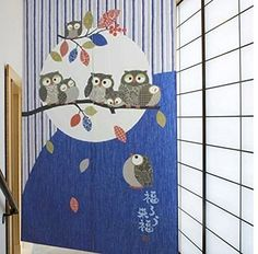 Japanese Noren Doorway and Door Curtain Owl Family Happiness Together Pattern Room Curtain *** Continue to the product at the image link.-It is an affiliate link to Amazon. #WindowTreatments