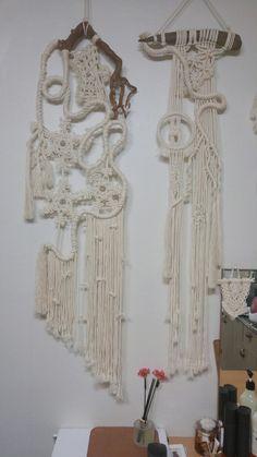 My & vine series (left) & rope, rod. Designed & made by Driftwood Macrame, Macrame Art, Macrame Projects, Macrame Knots, Macrame Wall Hanging Diy, Macrame Curtain, Deco Boheme, Micro Macramé, Macrame Design