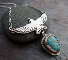 Flying Turquoise Pendant Necklace // hand forged silver bird and blue turquoise nugget // metalsmith artisan jewelry (3803)