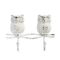Garderobe Kleiderhaken Eule Owl weiß mit 2 Haken von Nordal