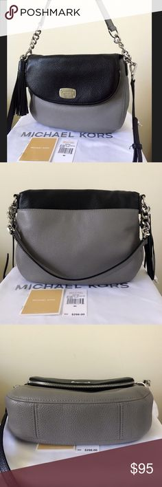 Michael Kors Bedford Medium Convertible Purse A stylish and unique purse, love the colors! Steel gray and black with silver detailing. Goes well with everything. Has a detachable long strap. Nice size! Authentic. Comes with the original tags.  Very lightly used, still looks new. Maybe very minor wear on the snap closure place. See picture for detail please.  Measurement: 11*9*3 inch Dust bag is included.😊 Michael Kors Bags Totes
